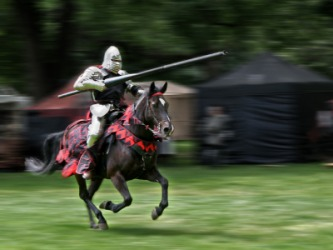 A knight carrying a lance.