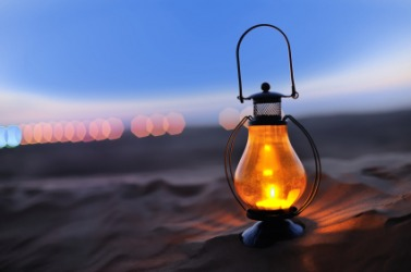 A lantern on the beach.