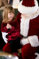 A little girl sits on Santa's lap.