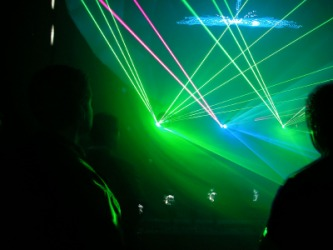 Beams of light from multiple lasers.