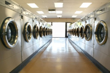 Rows of washing machines at a laundromat.