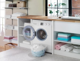 A modern laundry in a home.