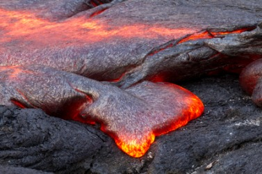 Magma flowing from a volcano.