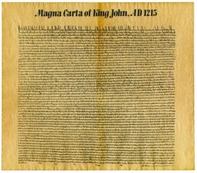 A replica of the Magna Carta.