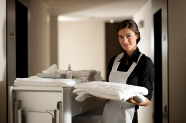 A hotel maid at work.