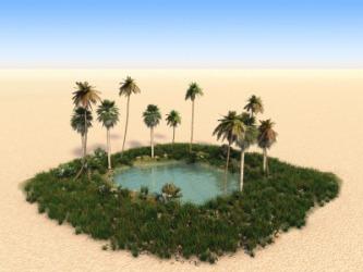 An oasis in a desert.