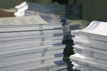 Stacks of pamphlets.