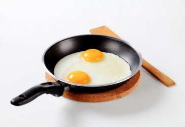 Eggs being fried in a pan.