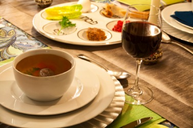 A Passover table setting.