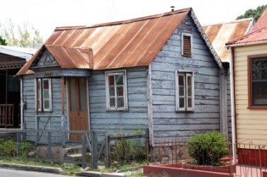 A ramshackle house.