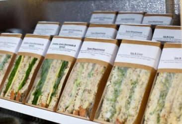 A row of ready-made sandwiches.