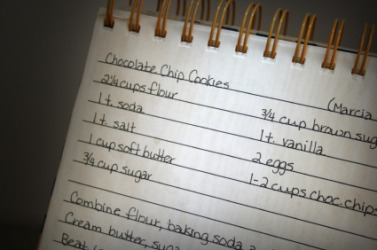 A recipe for chocolate chip cookies.
