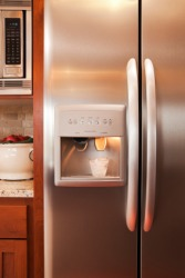 A modern refrigerator.