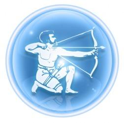 The symbol for Sagittarius.