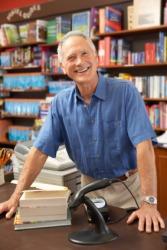 A salesman at a bookstore.