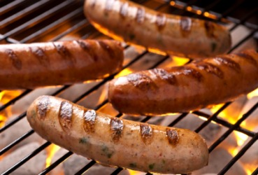Sausages on the grill.