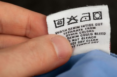 A tag inside a piece of clothing.