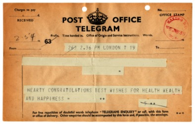 An old example of a telegram.