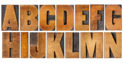 Wooden uppercase letters.