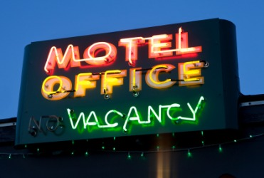 A motel vacancy sign.