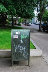 Vandals have attacked this mailbox.