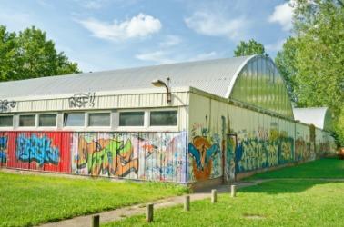 This school gym has been a victim of vandalism.