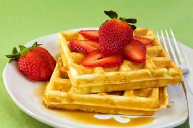 Waffles with strawberries.