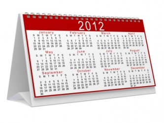 This calendar shows all the months in the year of 2012.