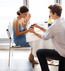 A woman says yes to a marriage proposal.