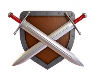 Two crossed swords on a shield.