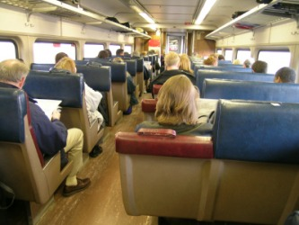 People aboard a train.