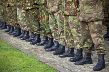 Soldiers standing abreast.