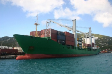 This ship carries goods made abroad.