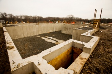 This foundation is the basis for a new building.