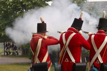 A reenactment of a battle in the War of 1812.