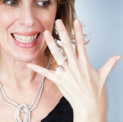 A woman shows off her bling.