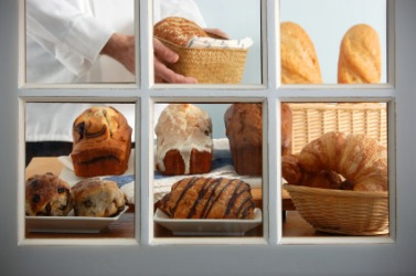 Baked goods in a boulangerie window.