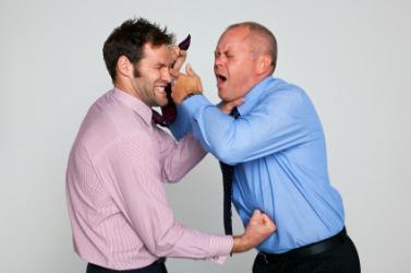 Two men having a brawl.