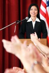 A candidate gives a speech.