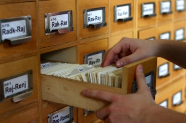 A card catalog in a library.