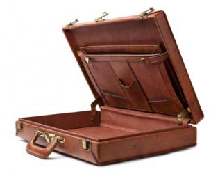 An empty brown case.