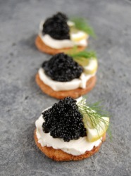 These caviar appetizers are a delicacy.