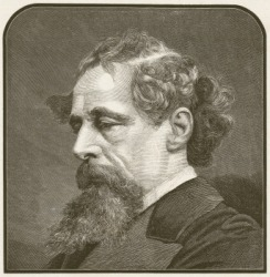 A portrait of Charles Dickens.
