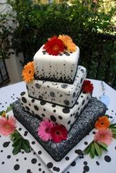 An elaborate wedding cake.