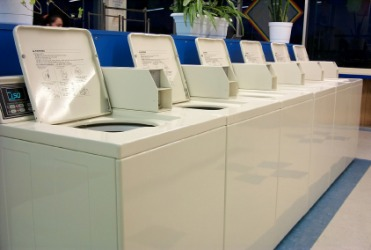 Washing machines in a launderette.