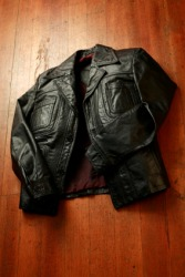 A black leather jacket.