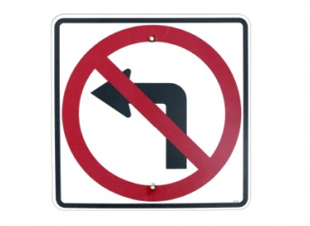 This sign indicates that you can not make a left turn.