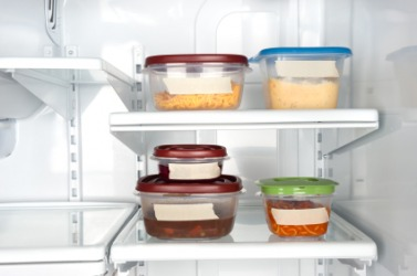 Leftovers stacked neatly in the refridgerator.