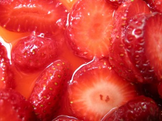 Macerated strawberries.