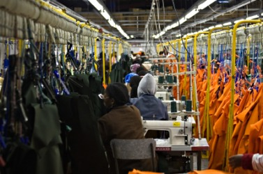 A factory engaged in the manufacture of clothing.